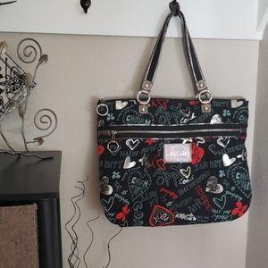 Handbags - Coach Poppy Black/Red/Silver Shoulder Bag